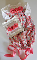 Preemie Coral Print Baby Girl Gown + Matching Flower Headband