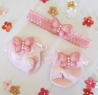 Newborn or Preemie Pink Party Socks Set with Light Pink Butterflies + Headband