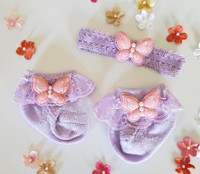 Newborn or Preemie Lavender Party Socks Set with Light Pink Butterflies + Headband