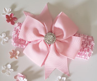 Baby Doll Head Band with Rhinestone Adornments Hand Made