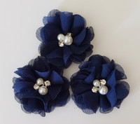 Mini Triple Flower on on Lace Headband with Rhinestone Adornment Hand Made
