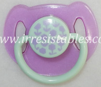Magnetic Pacifier for Newborn and Toddler Dolls Purple and Mint with Flowers