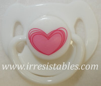 Magnetic Pacifier for Newborn and Toddler Dolls White with Pink Heart