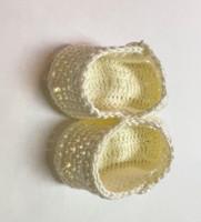 Crochet Baby Doll Booties Newborn to 6 Months 0221-65  Cream