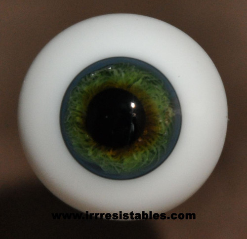 German Glass Eyes: Full Round Blue with Green #24