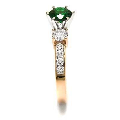 14k Gold Tsavorite Diamond Engagement  Ring R728