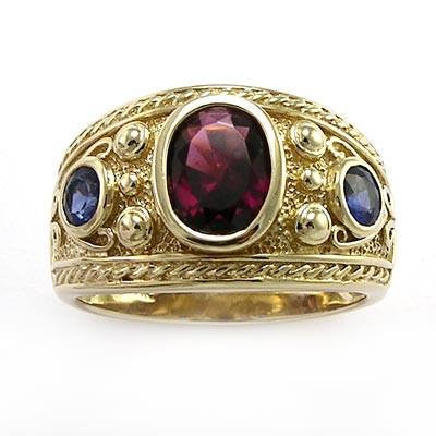 14k Gold Garnet and Ceylon Sapphire Men's Ring R737