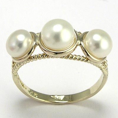 10k Gold Triple Pearl Ring R741
