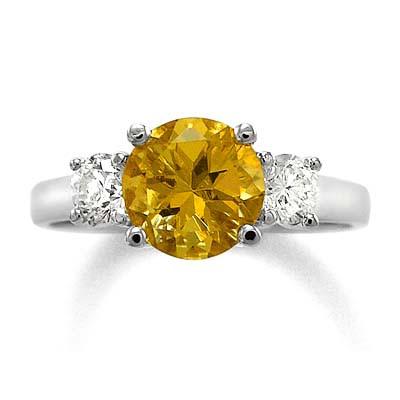 14k Gold Citrine Diamond Ring R810