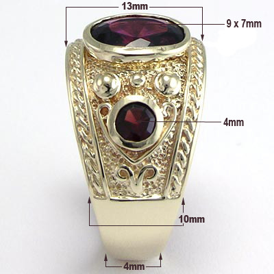 Men's 14k Yellow Gold  Garnet Ring R861