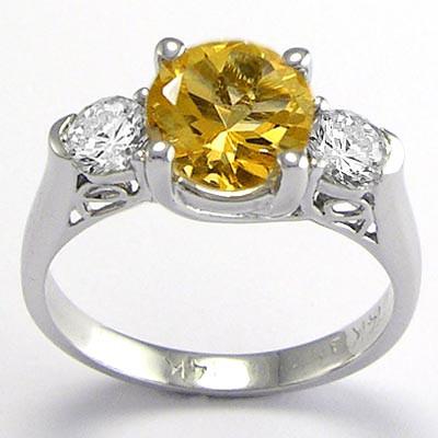 14k Gold Citrine and Diamond Ring R648