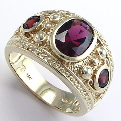 Men's genuine garnet ring 14k solid gold R642