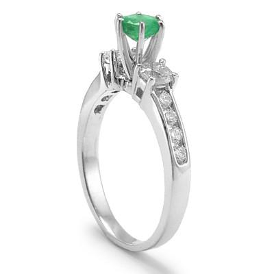 14k Gold Emerald Diamond Engagement Ring R634