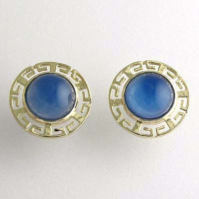 14k Gold Blue Onyx Earrings E513