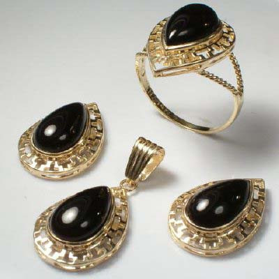 14k Gold Pear Cut Onyx Set S203