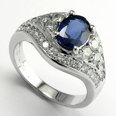 1.62ct Ceylon Sapphire Diamond Ring in 14k Gold R521