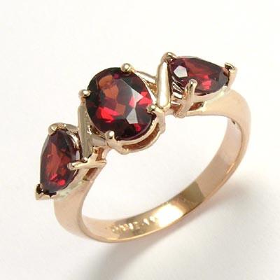 Mother's ring Garnet 14k rose Gold R486