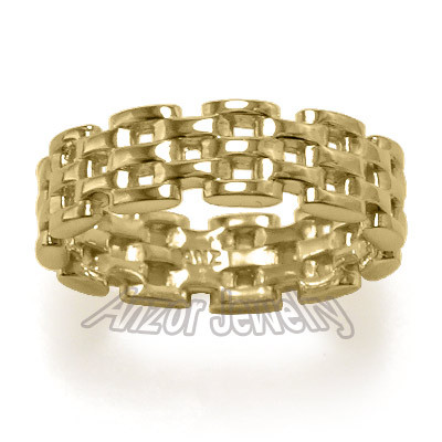 14k Gold Panther Link Band Ring by Anzor R487
