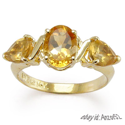 14k Gold Three-Stone Citrine Mother's Ring R483