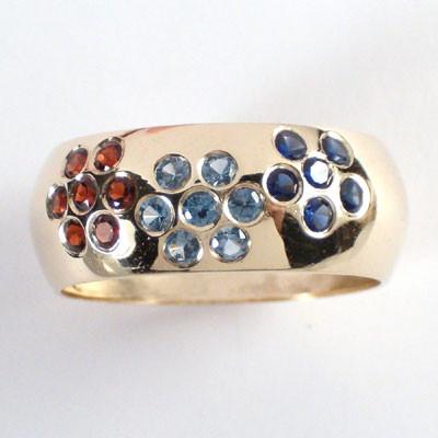 14k Gold Gemstone Band R380