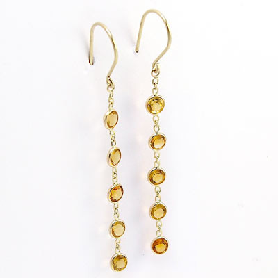 14k Gold Dangling Citrine Earrings E293