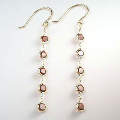 14k Garnet Dangling Earrings E296