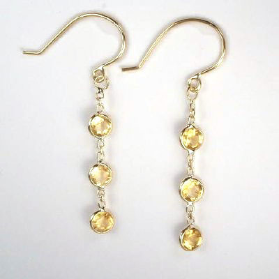 14k Citrine Dangling Earrings E298