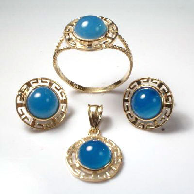 14k Gold Blue Onyx Jewelry Set S120