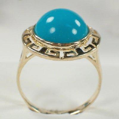 10k Gold Round Turquoise Set S133
