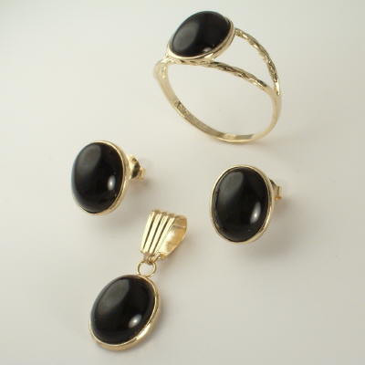 14k Gold Black Onyx Set S202