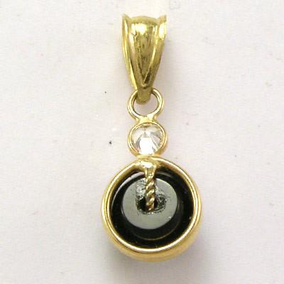 14k Gold Black Onyx Pendant P176