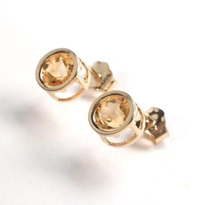 14k Gold Citrine Studs 1.52ct. E422