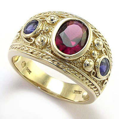 14k Gold Iolite and Garnet Ring Men's Jewelry R419