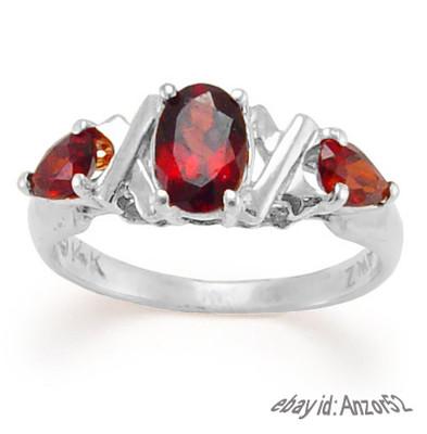 14k Gold Garnet Three Stone Ring R400