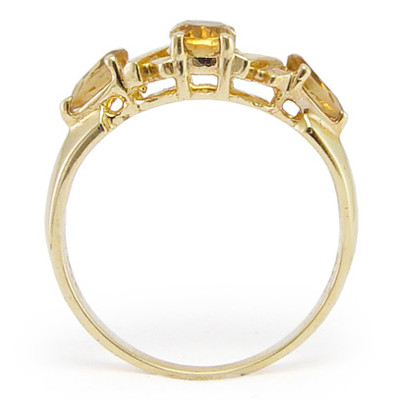 Mother's ring Solid 14k Gold Citrine R403