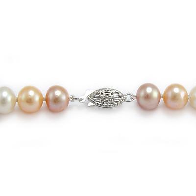 Genuine Three Colors Pearls Necklace N210