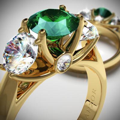14k Gold Emerald Diamond Anniversary Ring R991