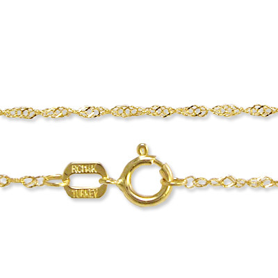 14k Yellow Gold Solid Singapore Chain Necklace N234