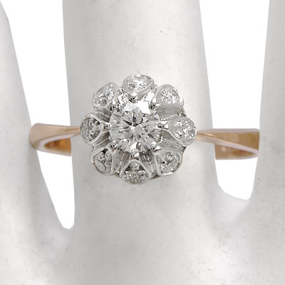 14k Gold Diamond Ring Russian Jewelry R1297