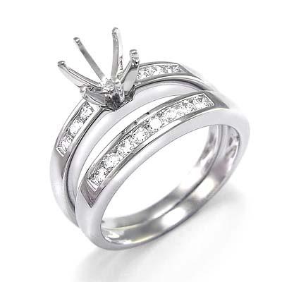 950 Platinum Diamond Wedding Band Bridal Set R1261