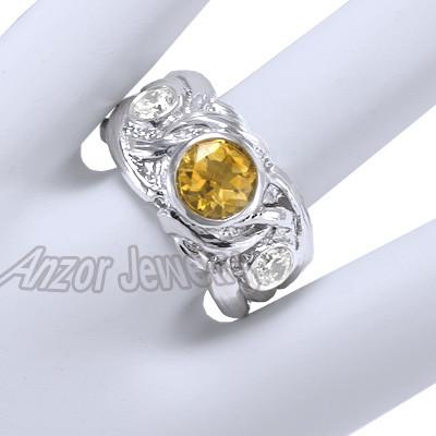 Men's 14k Gold Diamond And Citrine  Ring R1341