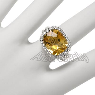 14K Solid White Gold Diamond & Citrine Ring R1321