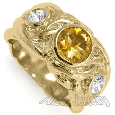 Men's 14k Gold Diamond And Citrine Ring R1342