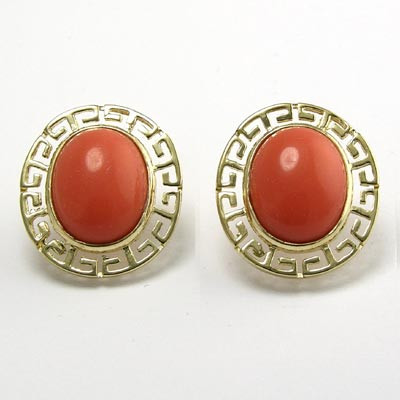 10k Gold Coral Earrings E957