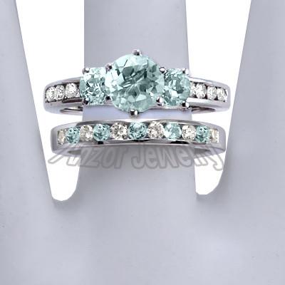 14k Gold Aquamarine Diamond Engagement Ring Set R1432