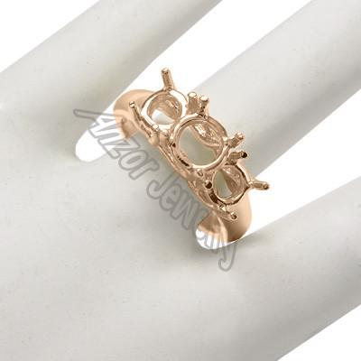 14k Rose Gold 3 Stone Trellis Ring Setting R1470