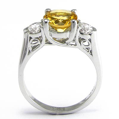 14k Gold Citrine and Diamond Ring R1467