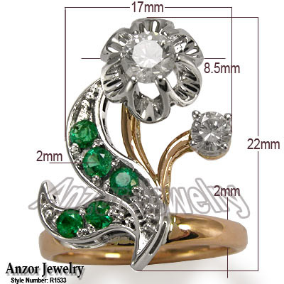 Russian Style Diamond Emerald Ring in 18k R1533