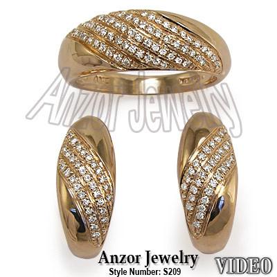 Russian Style Diamond Ring & Earrings Set 585 14K S209