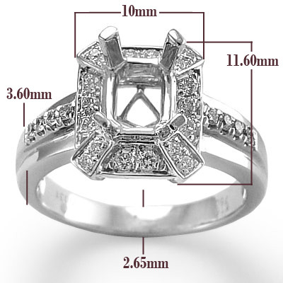 10k White Gold Diamond  Ring Setting R1613